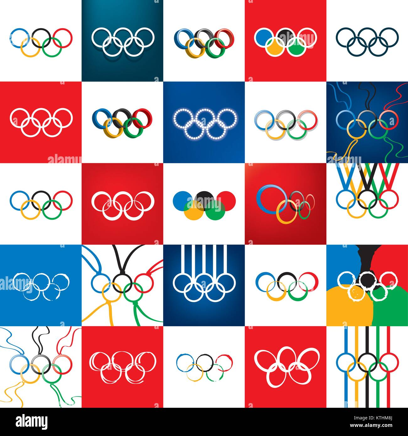 sign of the Olympic rings. Vector illustration. Sport - Stock Vector