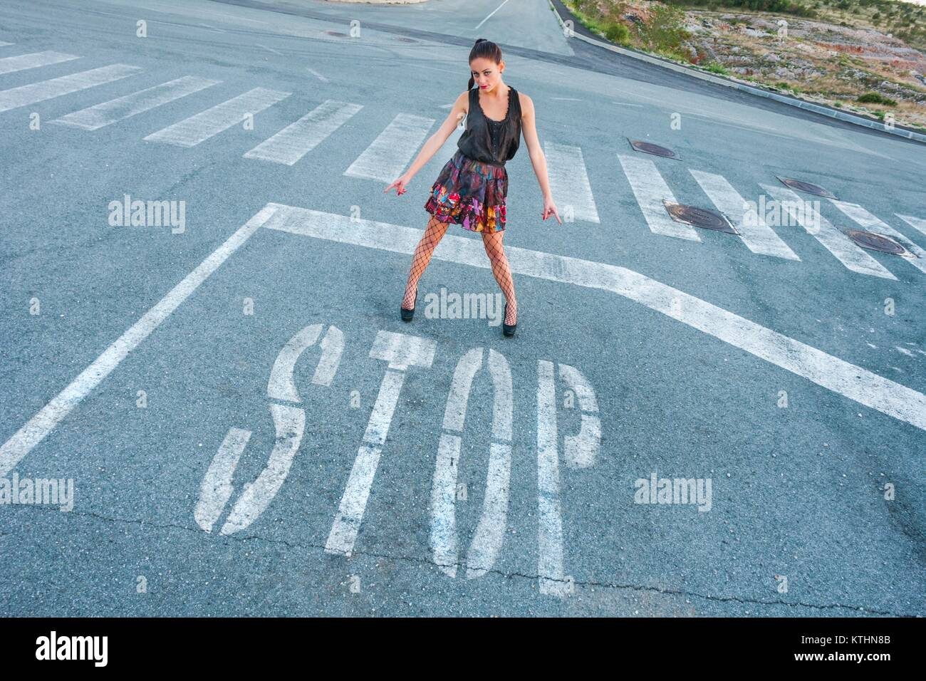 Feminine stop disagree against rule rules Stock Photo