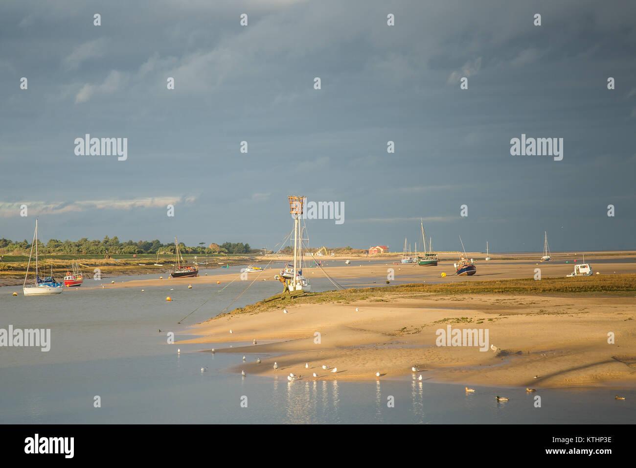 The tidal estuary at Wells-next-the-Sea,Norfolk Stock Photo