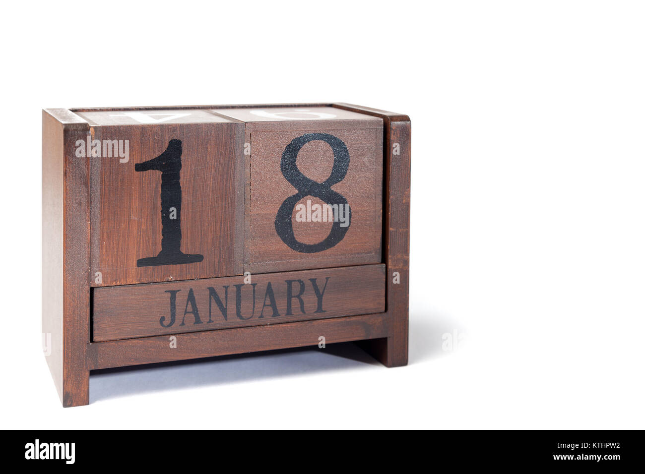 Wooden Perpetual Calendar set to January 18th - Stock Image