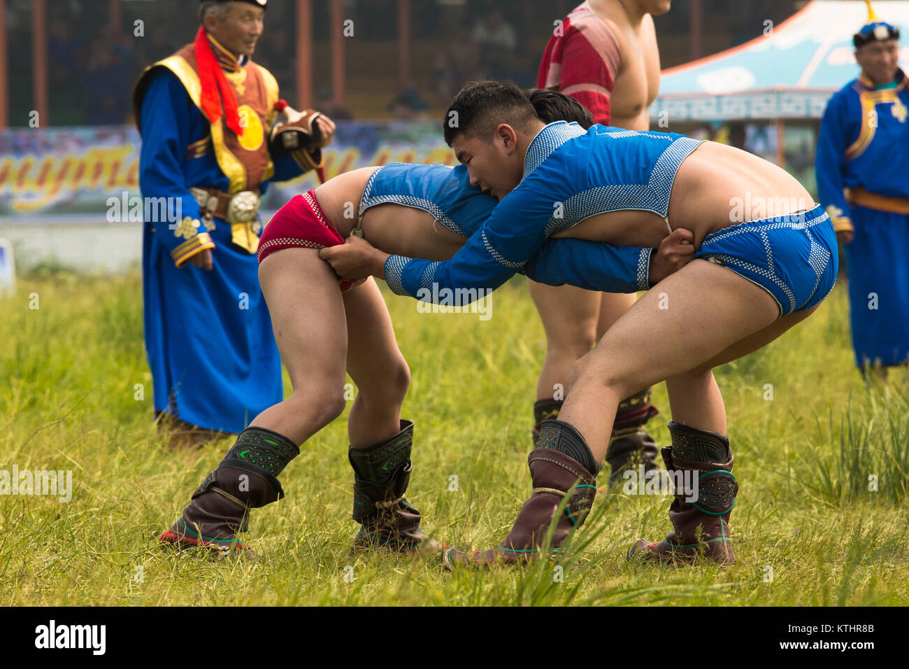 Wrestlig is very popular in Mongolia and the winners are very respected and adored. Naadam festival in Bulgan. Stock Photo
