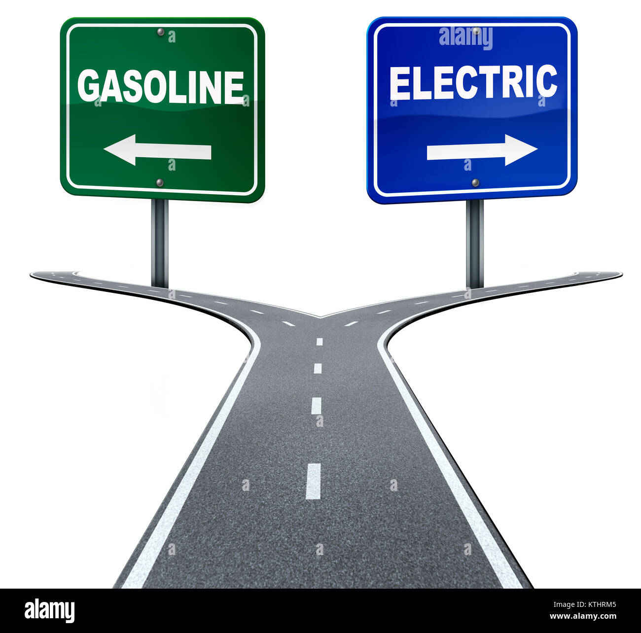 Gasoline and electric energy industry choice concept on a crossroad between old gas fuel power or alternative battery - Stock Image