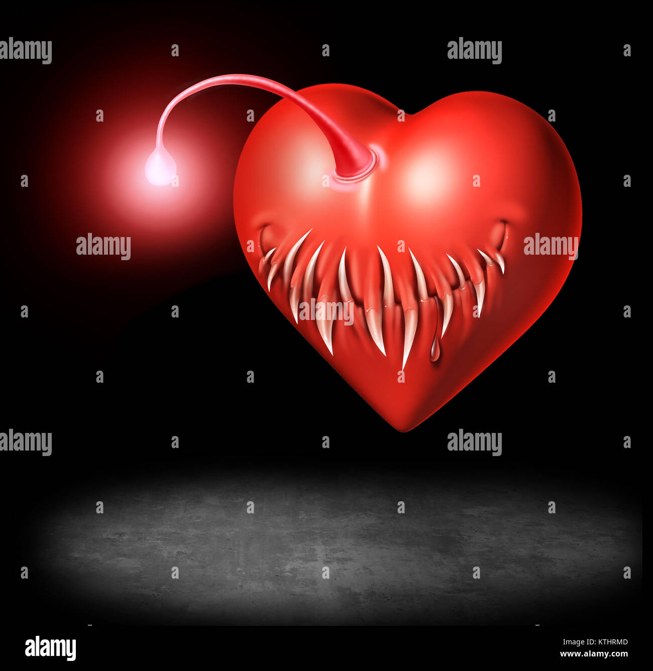 Danger of love and sexually transmitted disease or std risk medicine concept as a valentine heart shaped as an angler - Stock Image