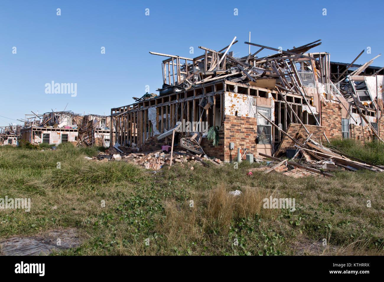 Multiple units of apartment complex destroyed by hurricane Harvey 2017. - Stock Image