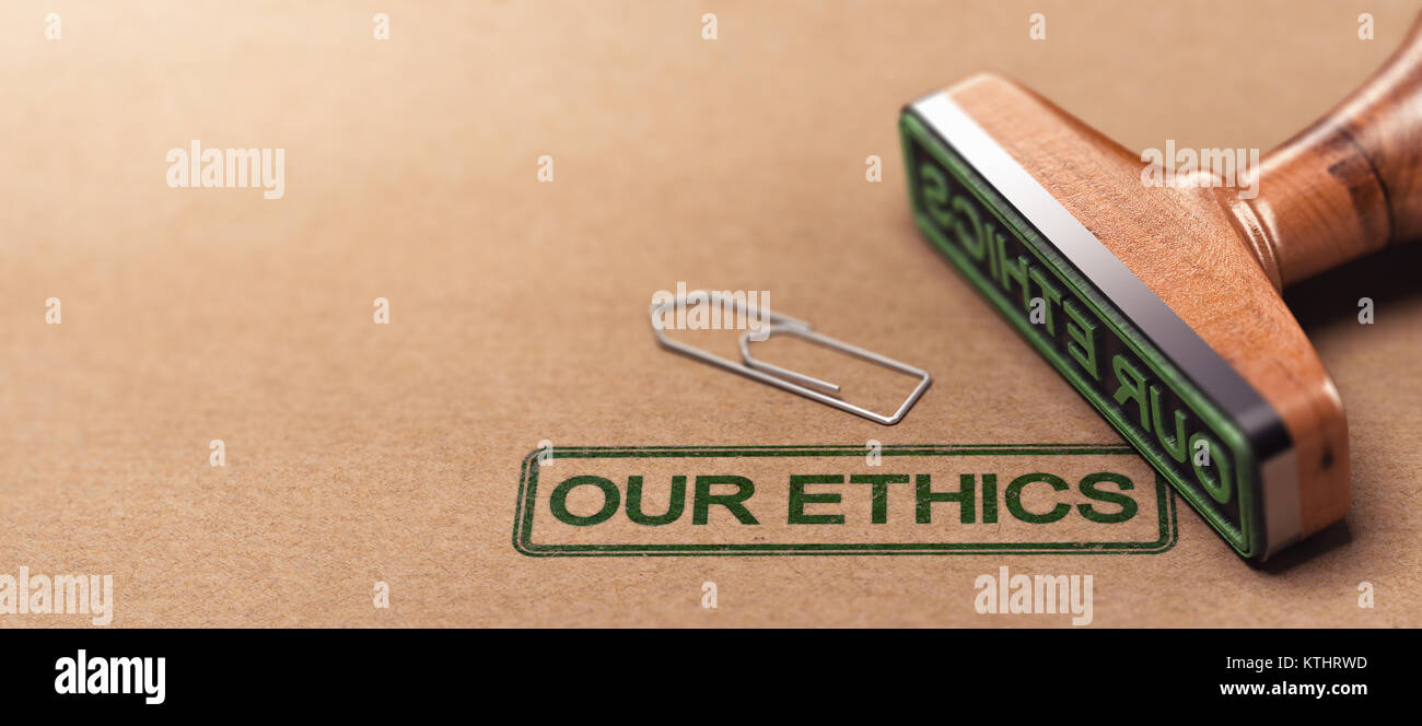 3D illustration of rubber stamp over paper background with the text our ethics. Business moral principles concept - Stock Image