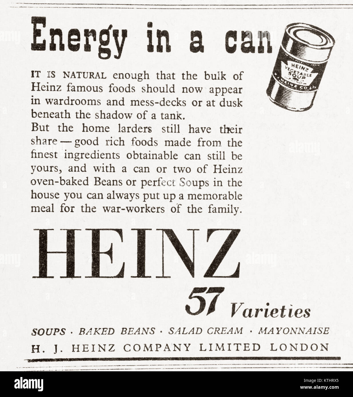 1943 advertisement for Heinz 57 Varieties canned food.  From The Daily Telegraph, May 18th, 1943. - Stock Image