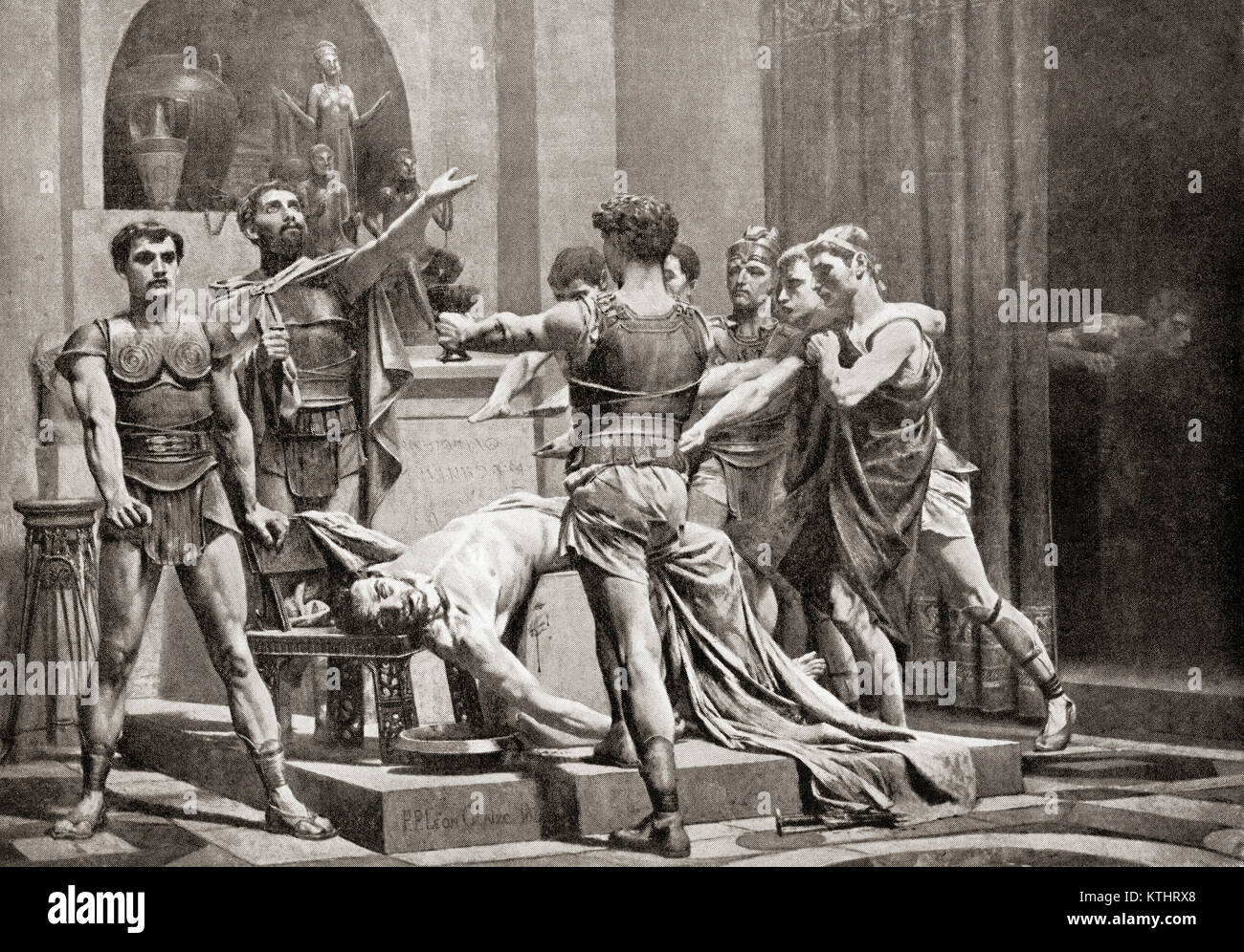 After the expulsion of the Tarquins some young Roman patricians plotted the restoration of the exiled kings, to - Stock Image