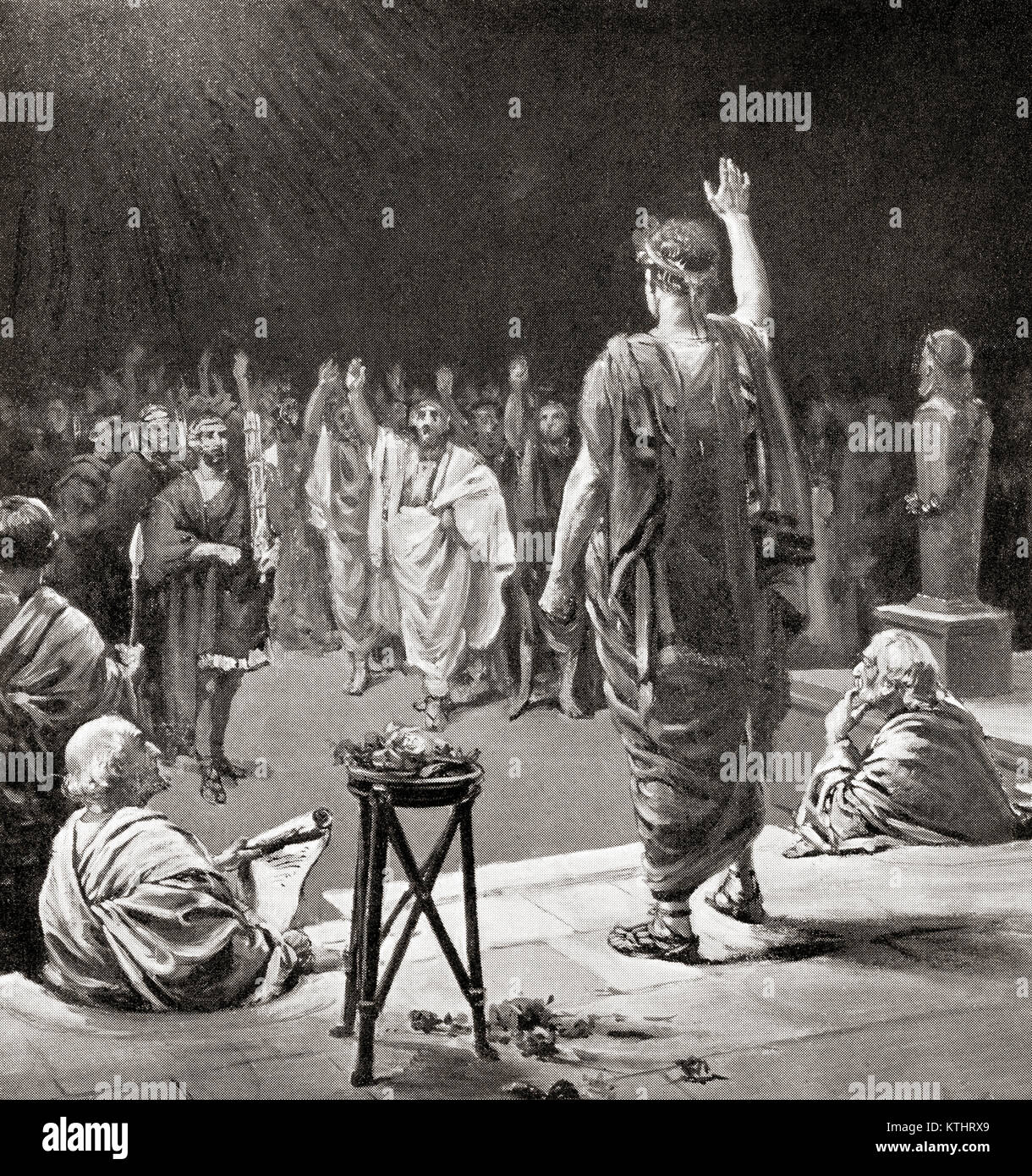 The Comitia Curiata or Curiate Assembly.  In ancient Rome the patricians were members of a curia, an administrative - Stock Image