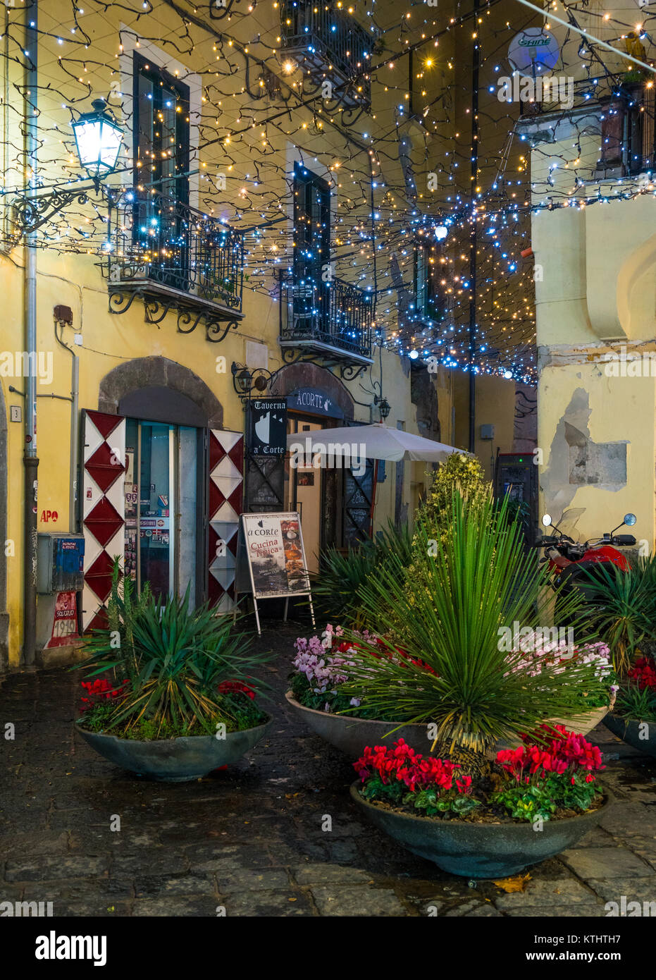 """The amazing """"Luci d'Artista"""" (artist lights) in Salerno during Christmas time, Campania, Italy. Stock Photo"""