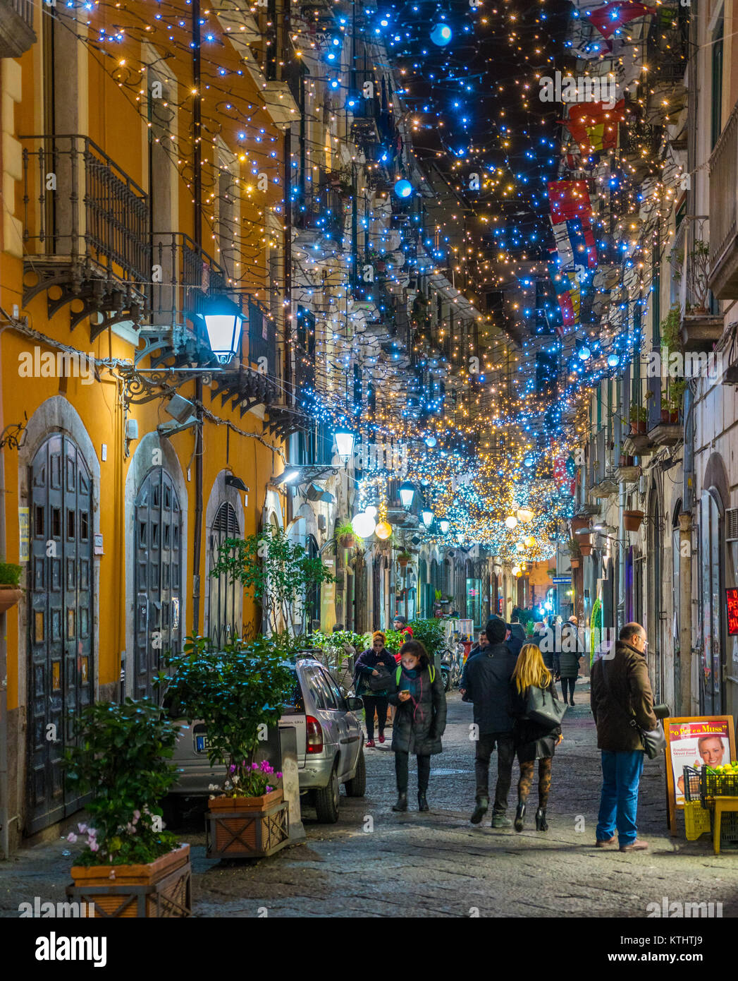 "The amazing ""Luci d'Artista"" (artist lights) in Salerno during Christmas time, Campania, Italy. Stock Photo"