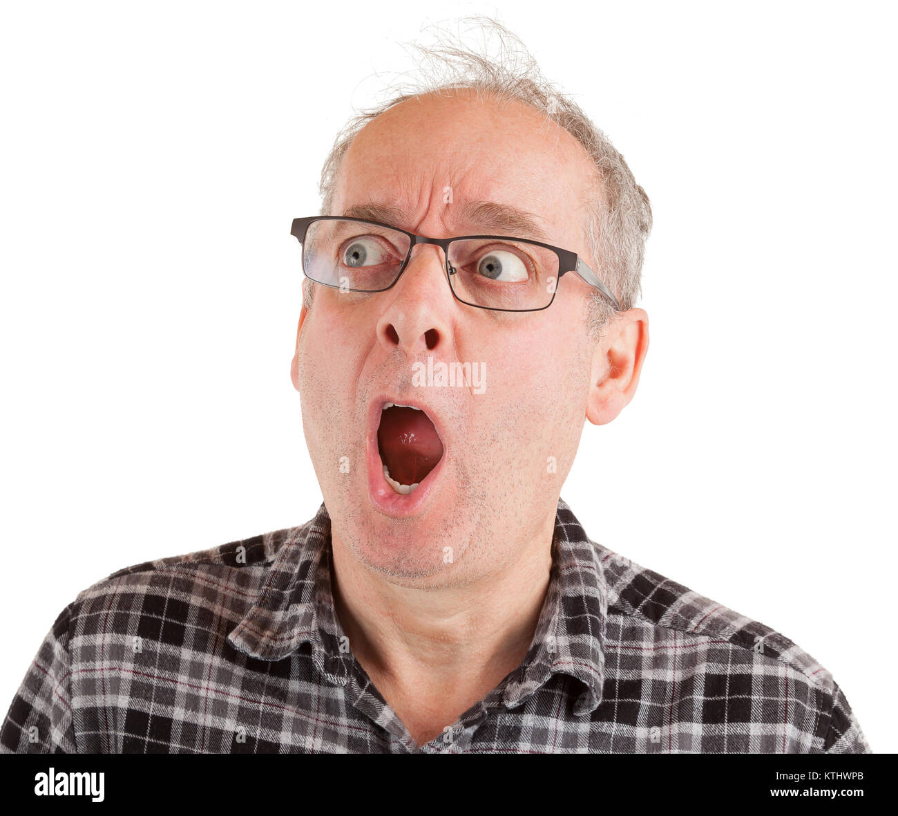 Man is in shocked about something - Stock Image