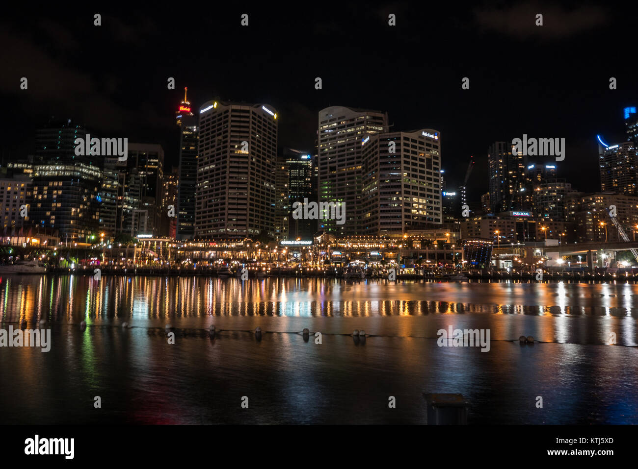 sydney darling harbour at night - Stock Image