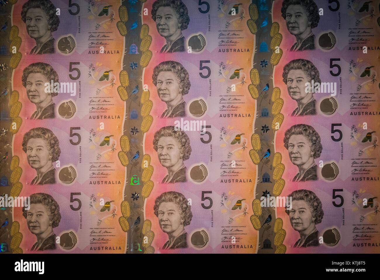 uncut australian bank notes - Stock Image