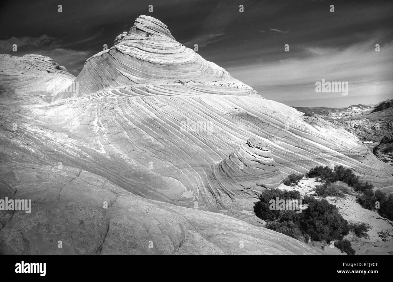 AZ   The Wave, Paria Canyon Wilderness, Mar 1987  BW (1) (10469004234) - Stock Image