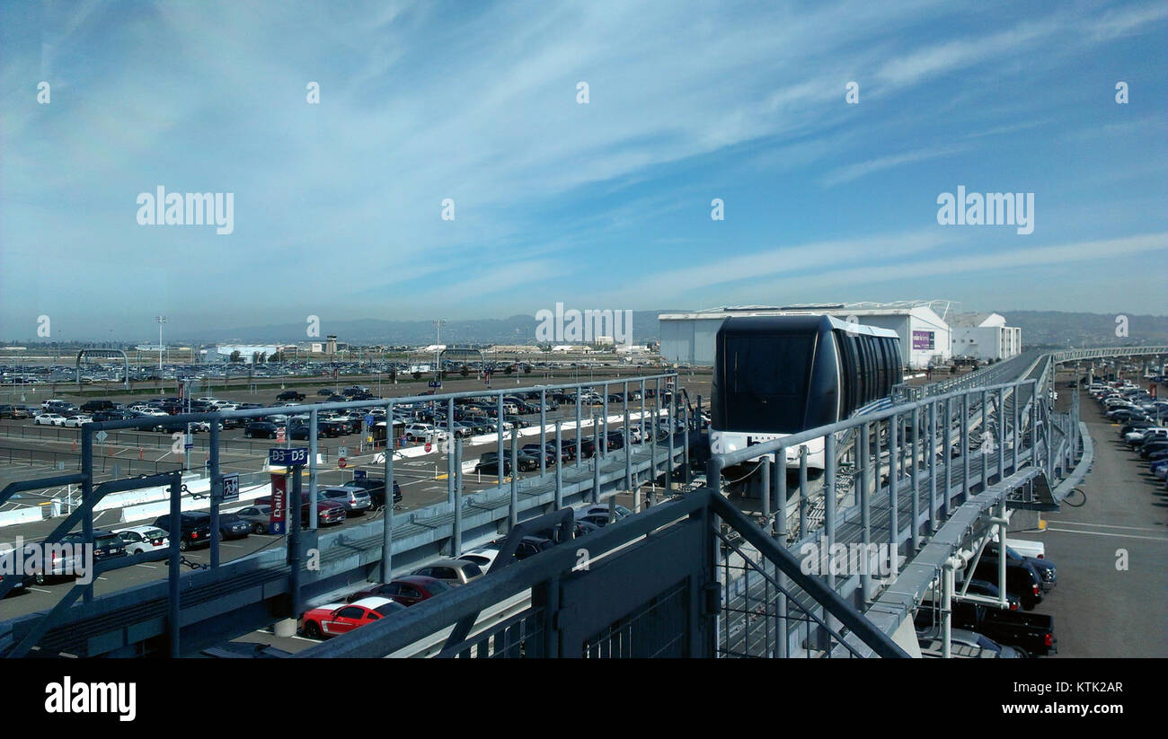 BART train viewed from Oakland Airport station - Stock Image