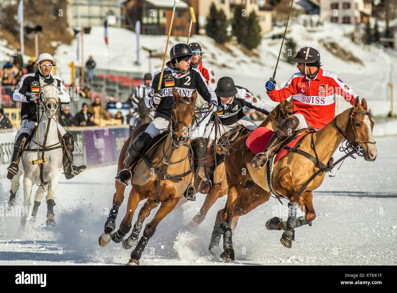 Polo Player during the Snow Polo World Cup 2011 Match Germany-Switzerland, St.Moritz, Switzerland.   Polo Spieler - Stock Image