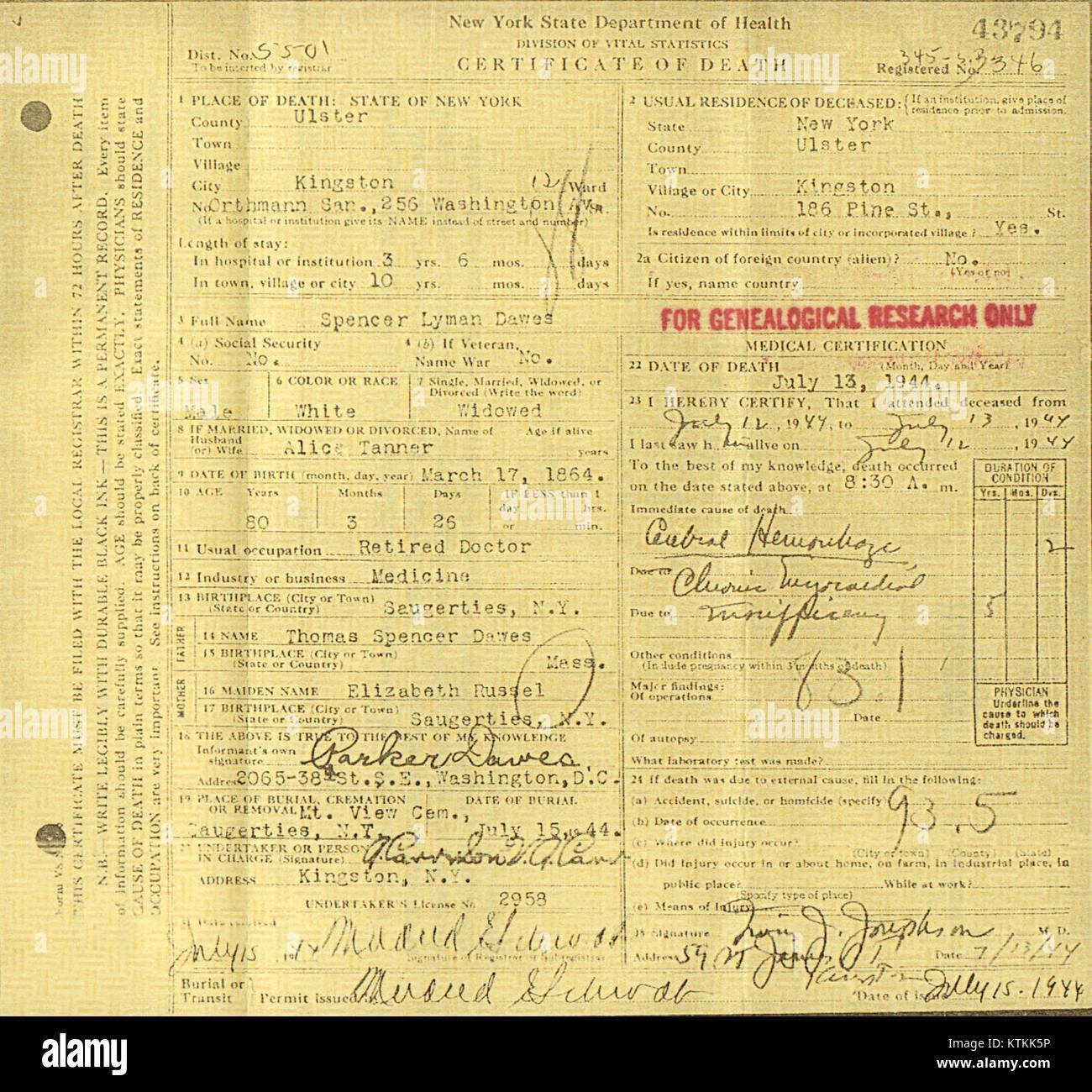 Dr Spencer Lyman Dawes Md 1864 1944 Death Certificate Stock