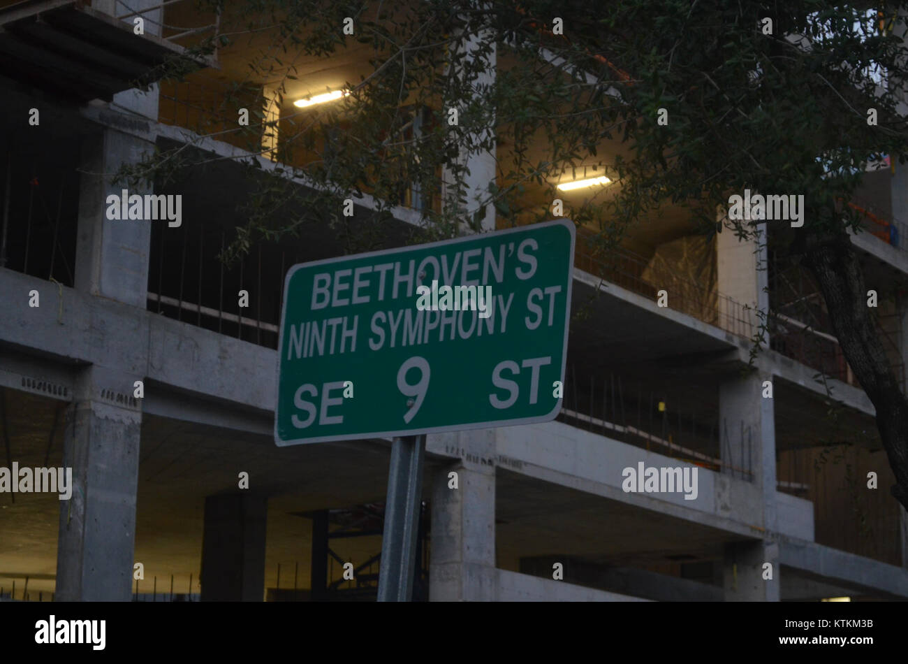 Beethoven's 9th Symphony Way sign - Stock Image