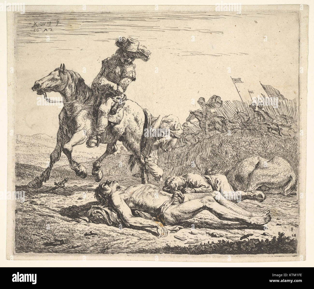 Battlefield With Horseman Looking Over His Left Shoulder Toward Stripped Corpse On The Ground A Clothed Figure And Horse Lying To Right
