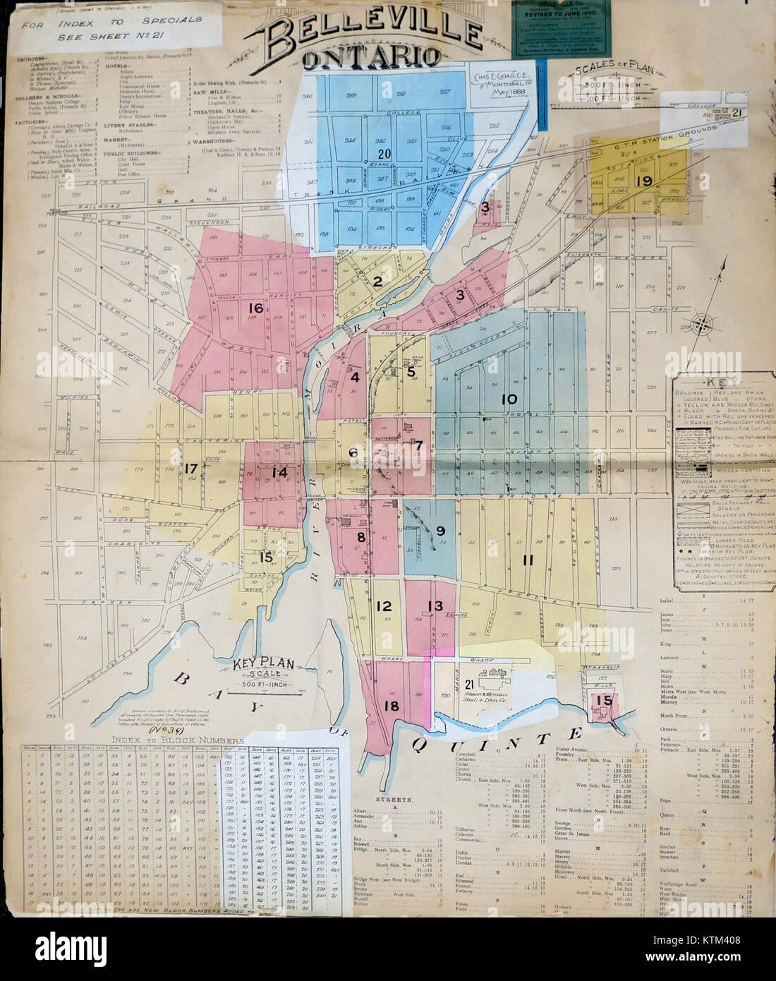 Belleville fire insurance map 1888 1900 Key