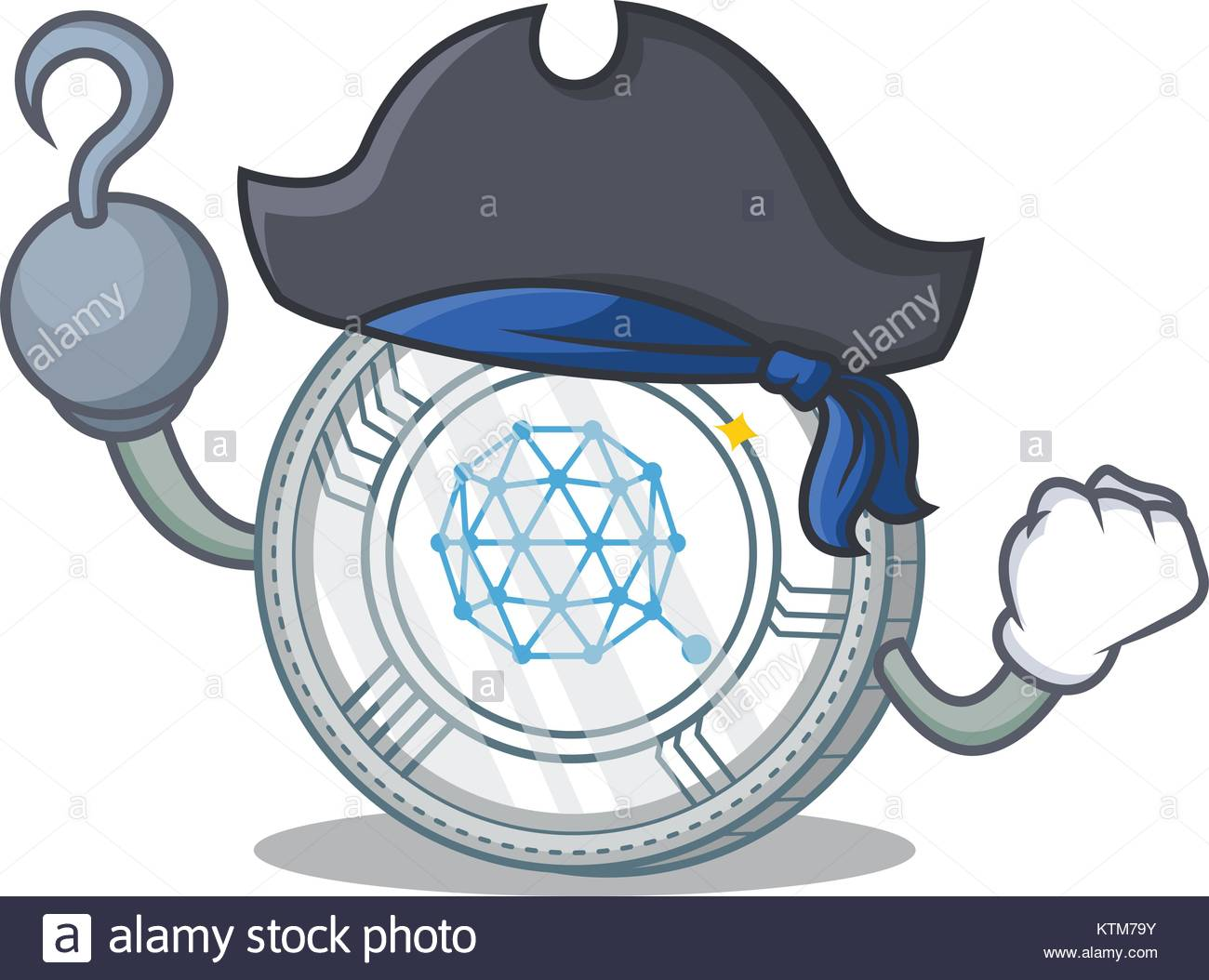 Pirate Qtum coin character cartoon - Stock Image