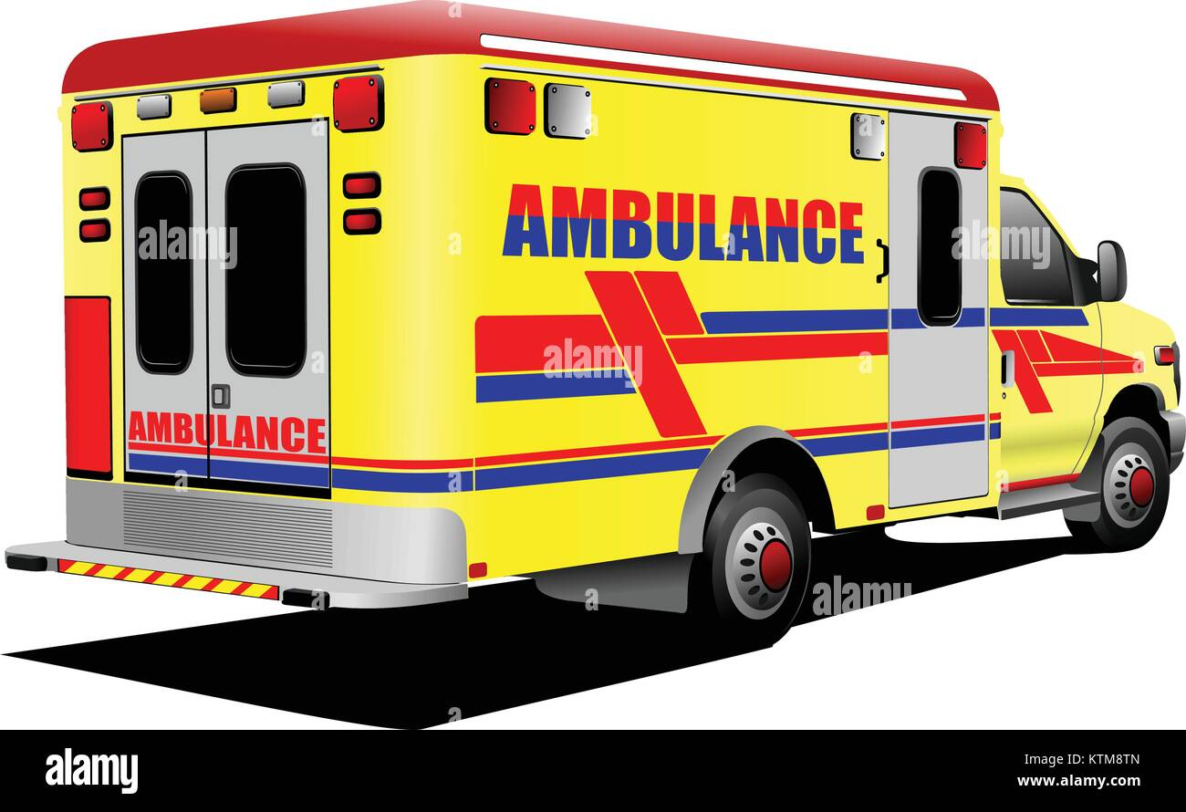Modern ambulance van over white. Colored vector illustration - Stock Image