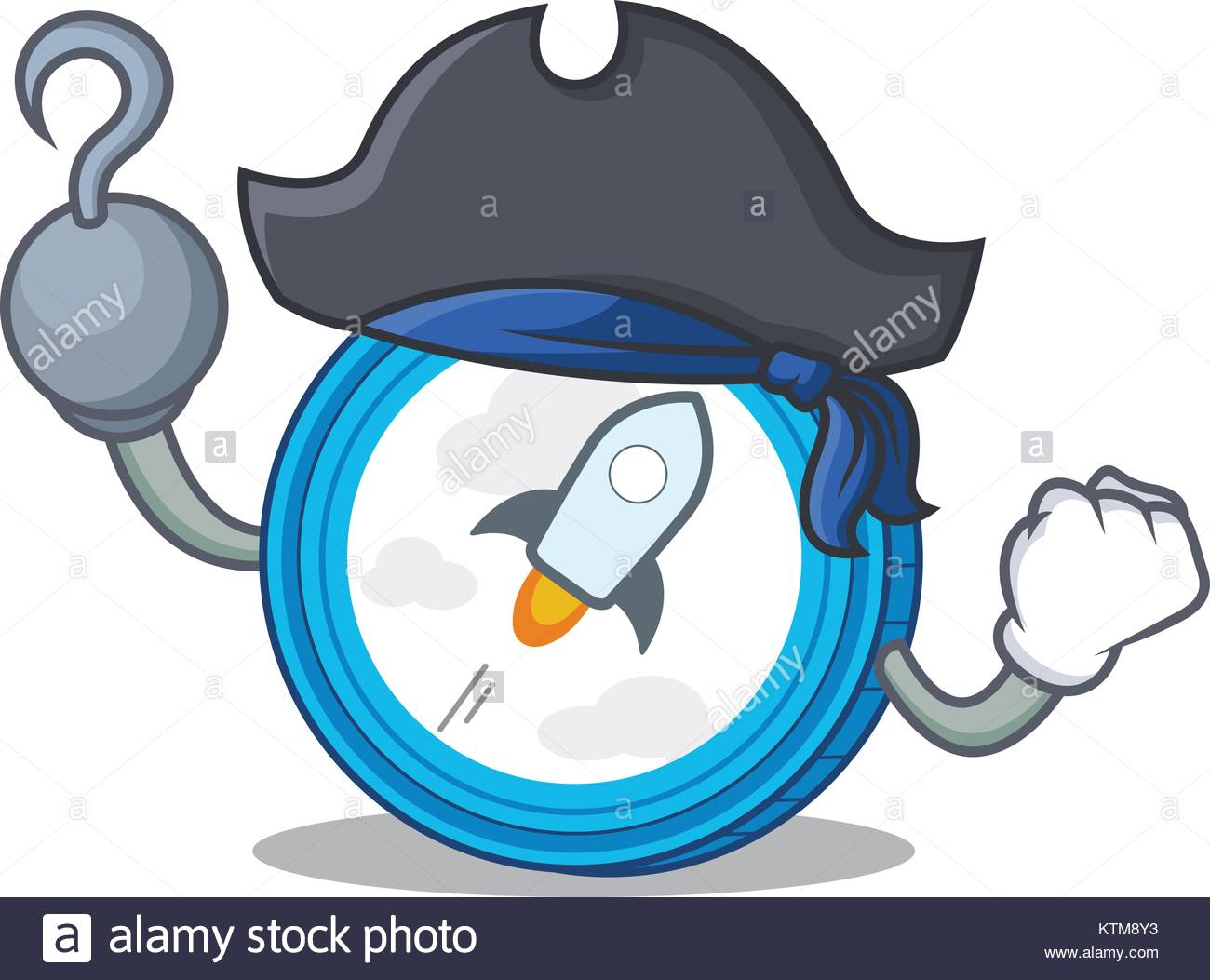 Pirate stellar coin character cartoon - Stock Image
