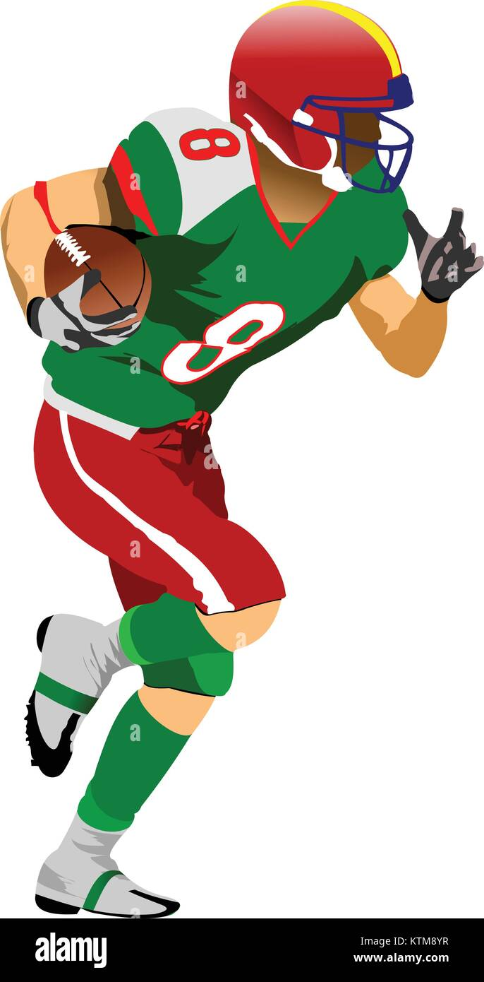 American football player silhouettes in action. Vector illustration - Stock Vector