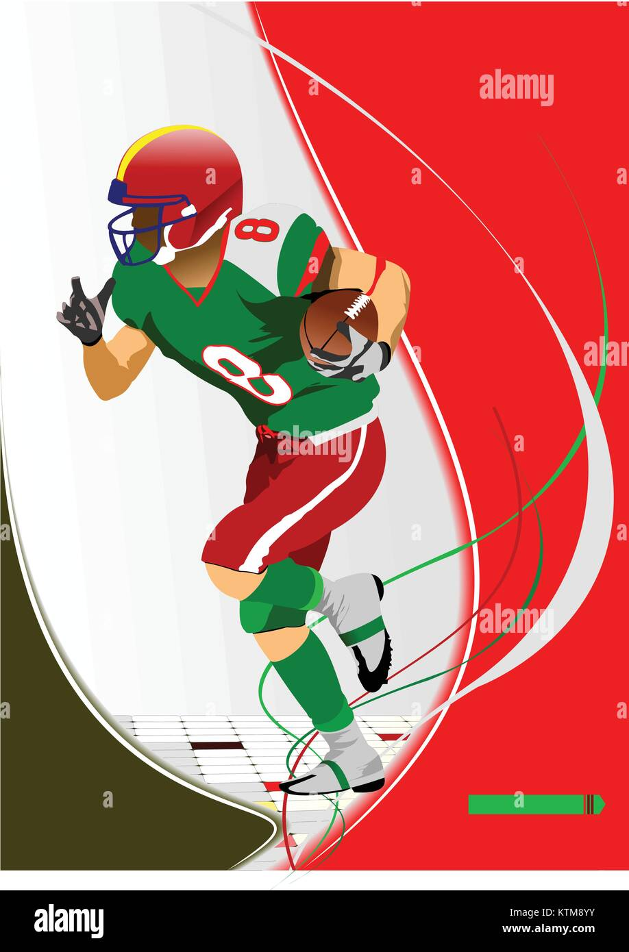 American football player s silhouettes in action. Vector illustration - Stock Vector