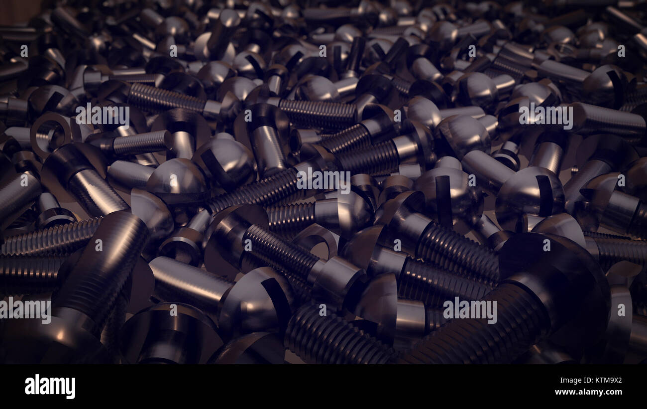 An astonishing 3d rendering of a big pile of bolts, nuts, screws lying on the flour.They are metallic and force - Stock Image