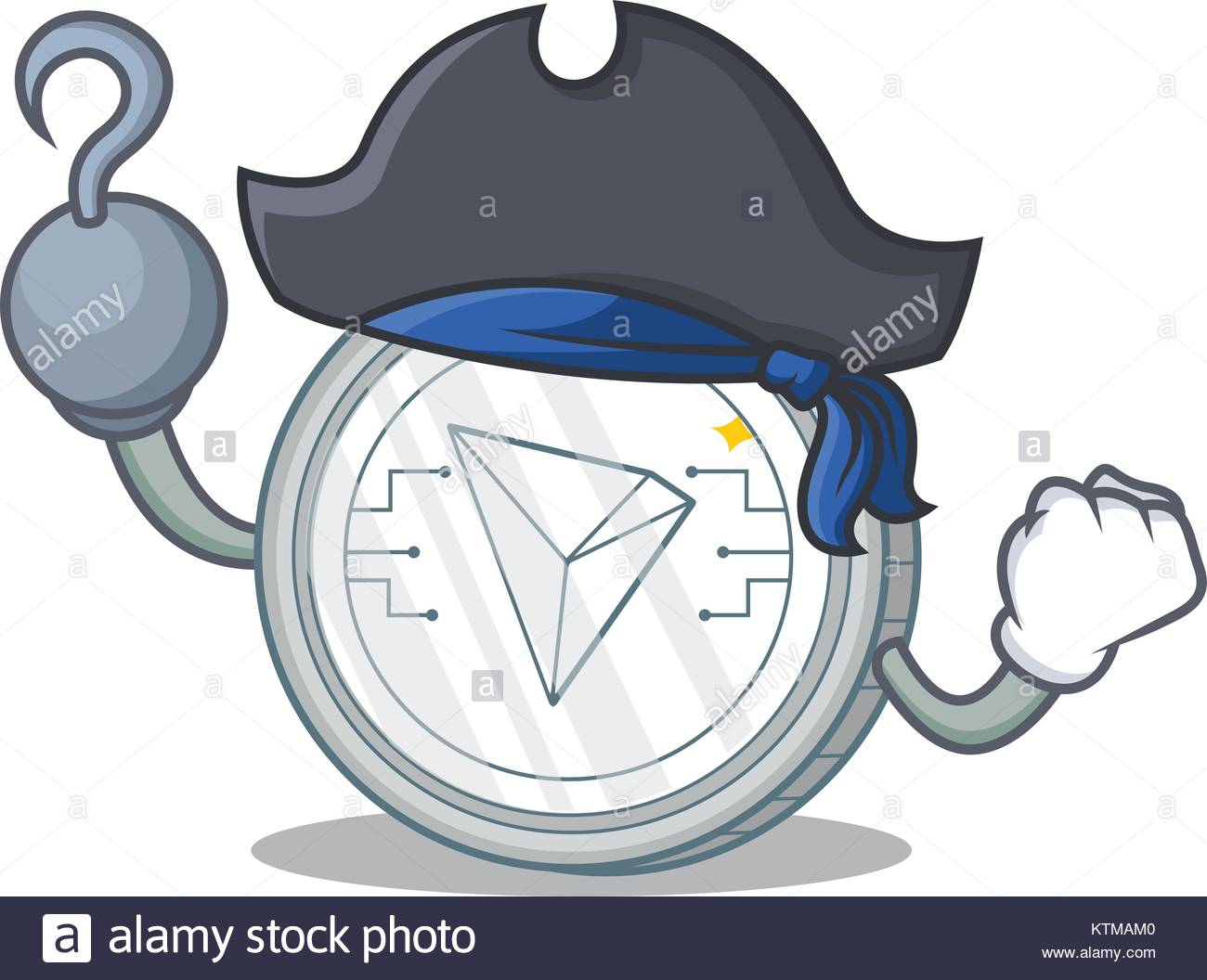 Pirate Tron coin character cartoon - Stock Image