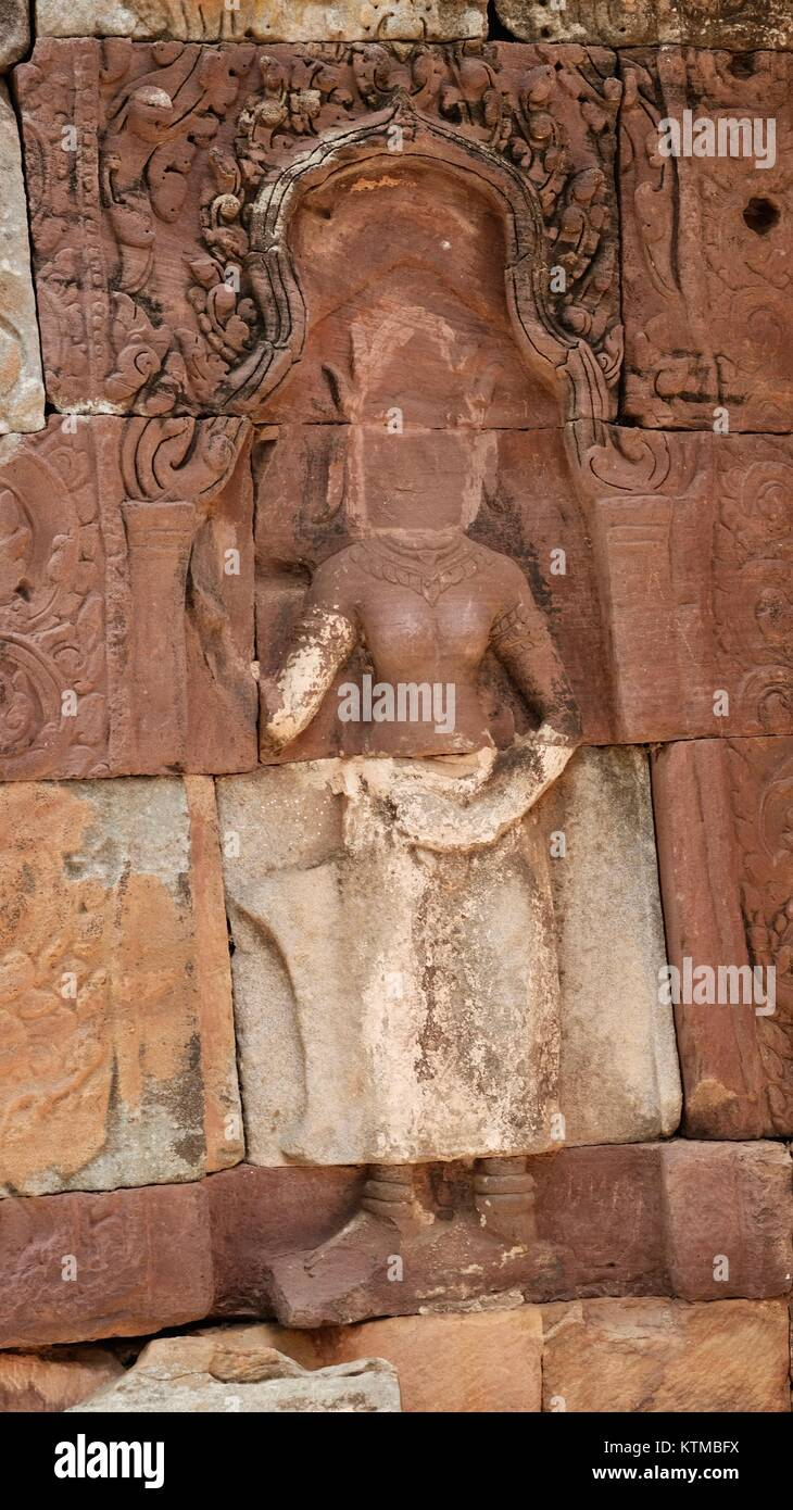 Religious Stolen Artifacts Phnom Banan Prasat Banan Angkorian Ruin Angkor Wat Era Temple 11th Century-Built by Jayarvarman - Stock Image