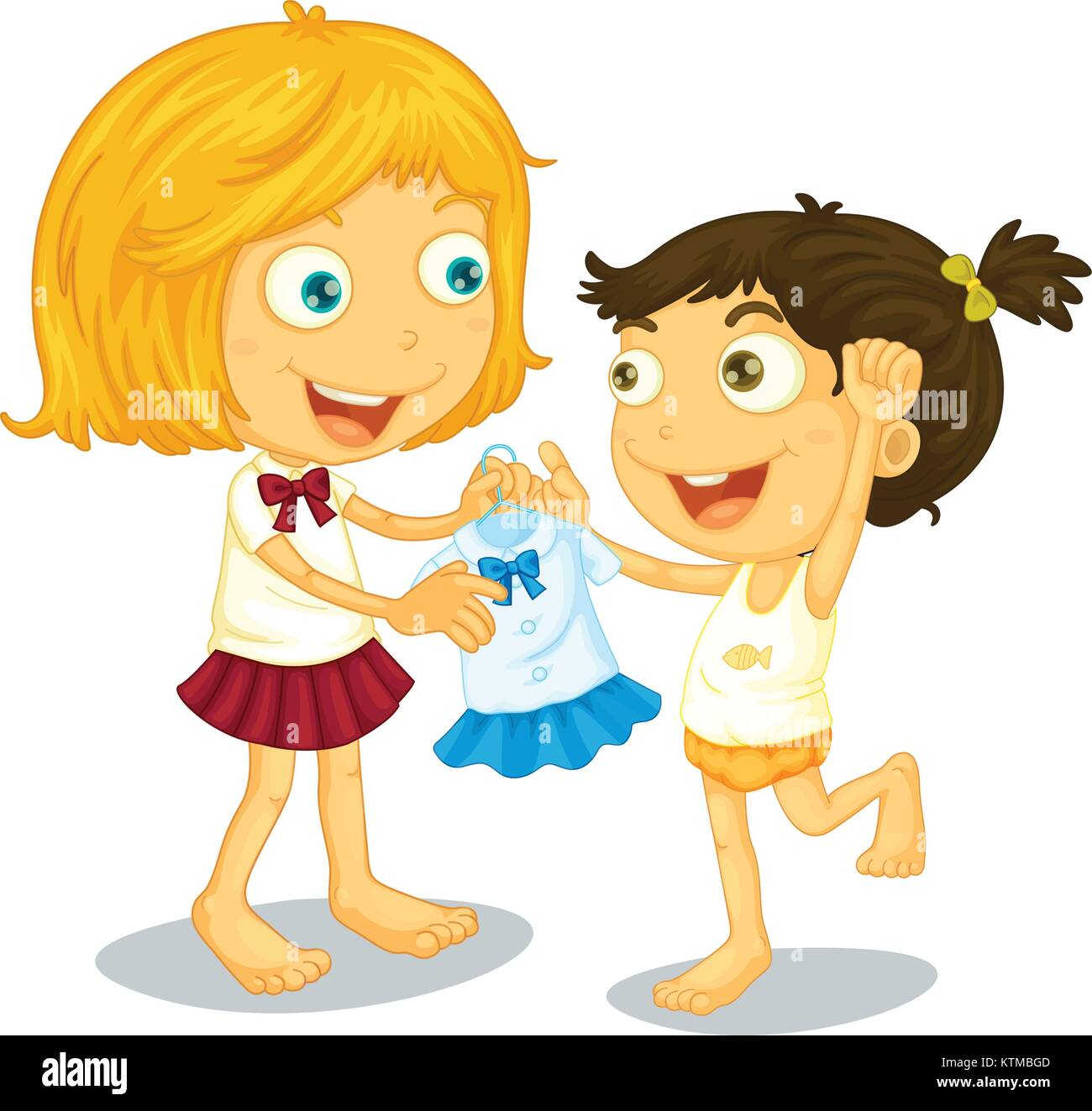 Illustration of sisters getting ready for school - Stock Vector