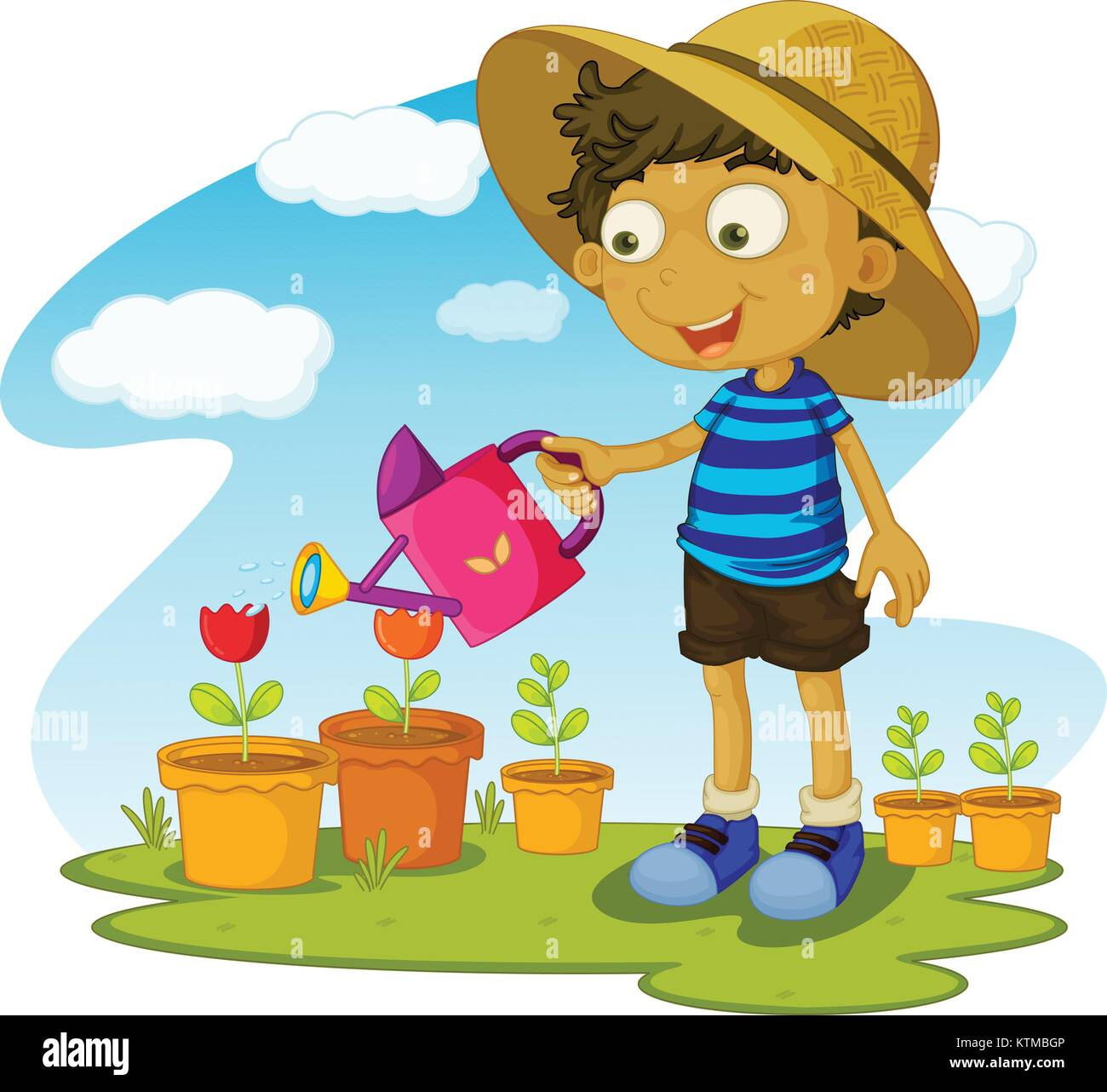 Illustration Of Kid Gardening With Water Stock Vector Image Art Alamy