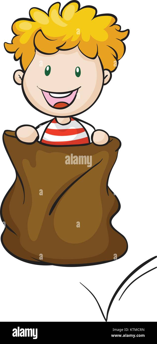 illustration of a boy and burlap on a white background - Stock Vector