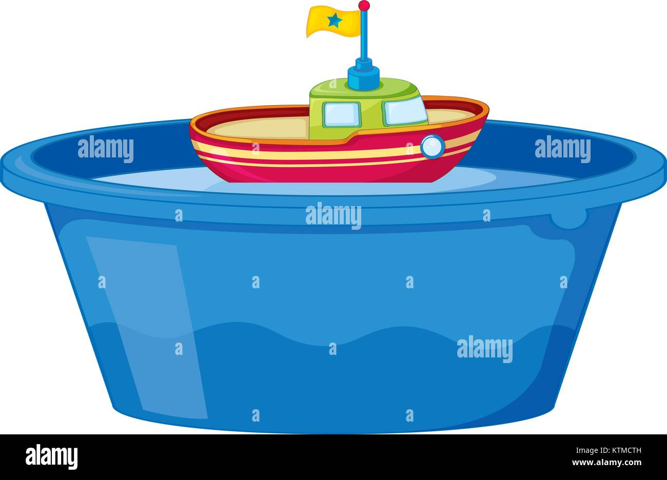 Illustration of a toy boat in tub of water Stock Vector Art ...