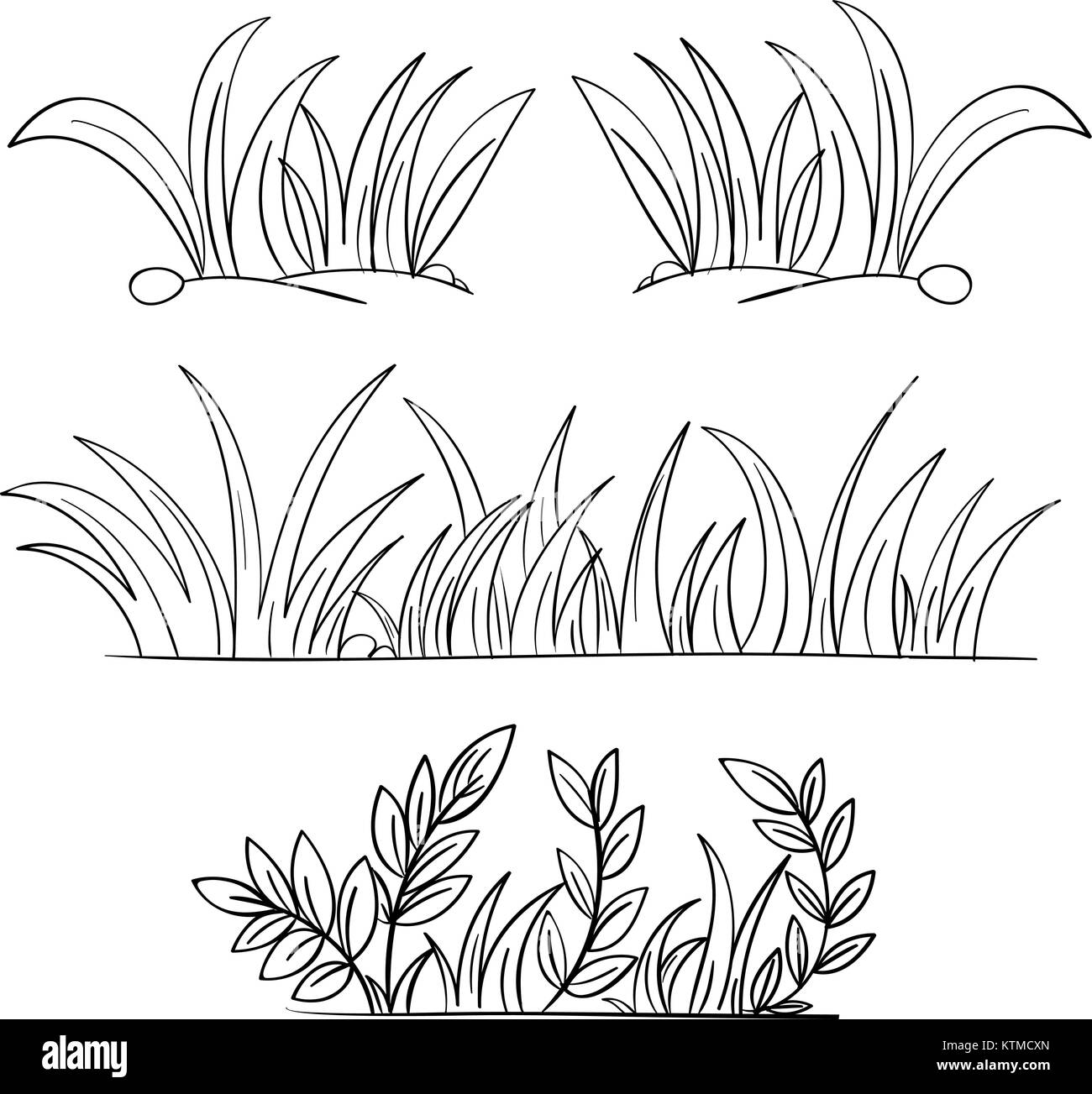 Illustration Of Grass And Plant Outlines Stock Vector Art