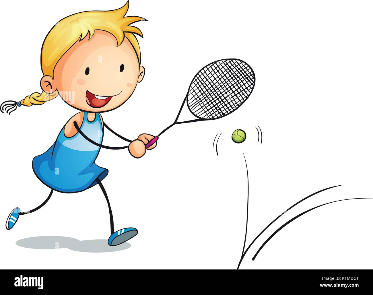illustration of a girl playing tennis on a white - Stock Image