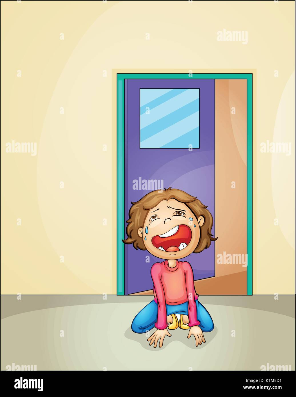 illustration of a boy crying alone at home - Stock Vector