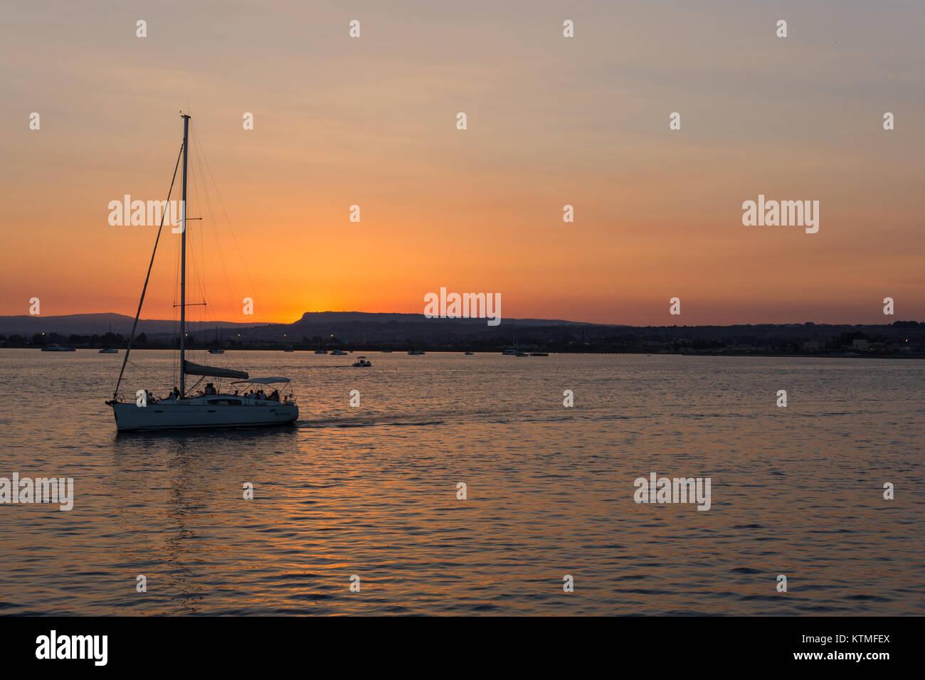 Syracuse Sicily Sunset - Stock Image