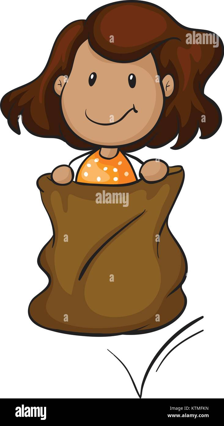 detailed illustration of a girl in a sack on white background - Stock Vector