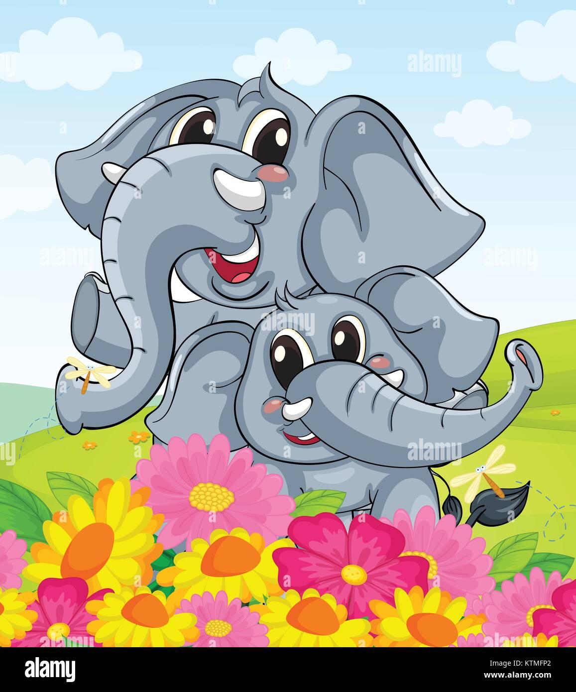 Illustration of cartoon elephants together - Stock Vector