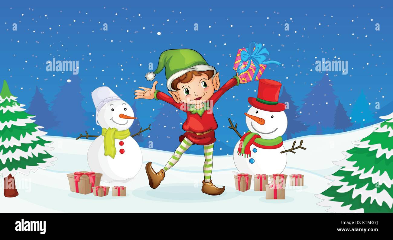 Christmas Festival Cartoon Images.Illustration Of A Boy Celebrating Christmas Festival Stock