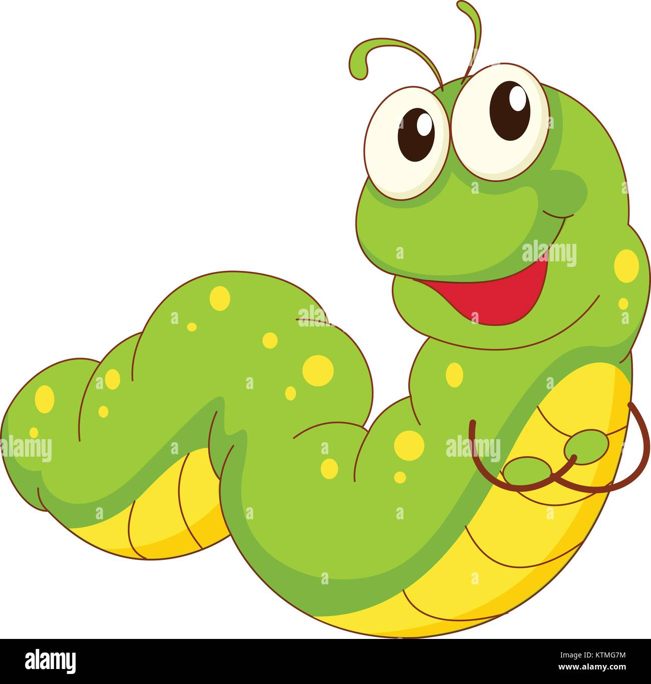 Illustration Of A Green Caterpillar Cartoon Stock Vector Image