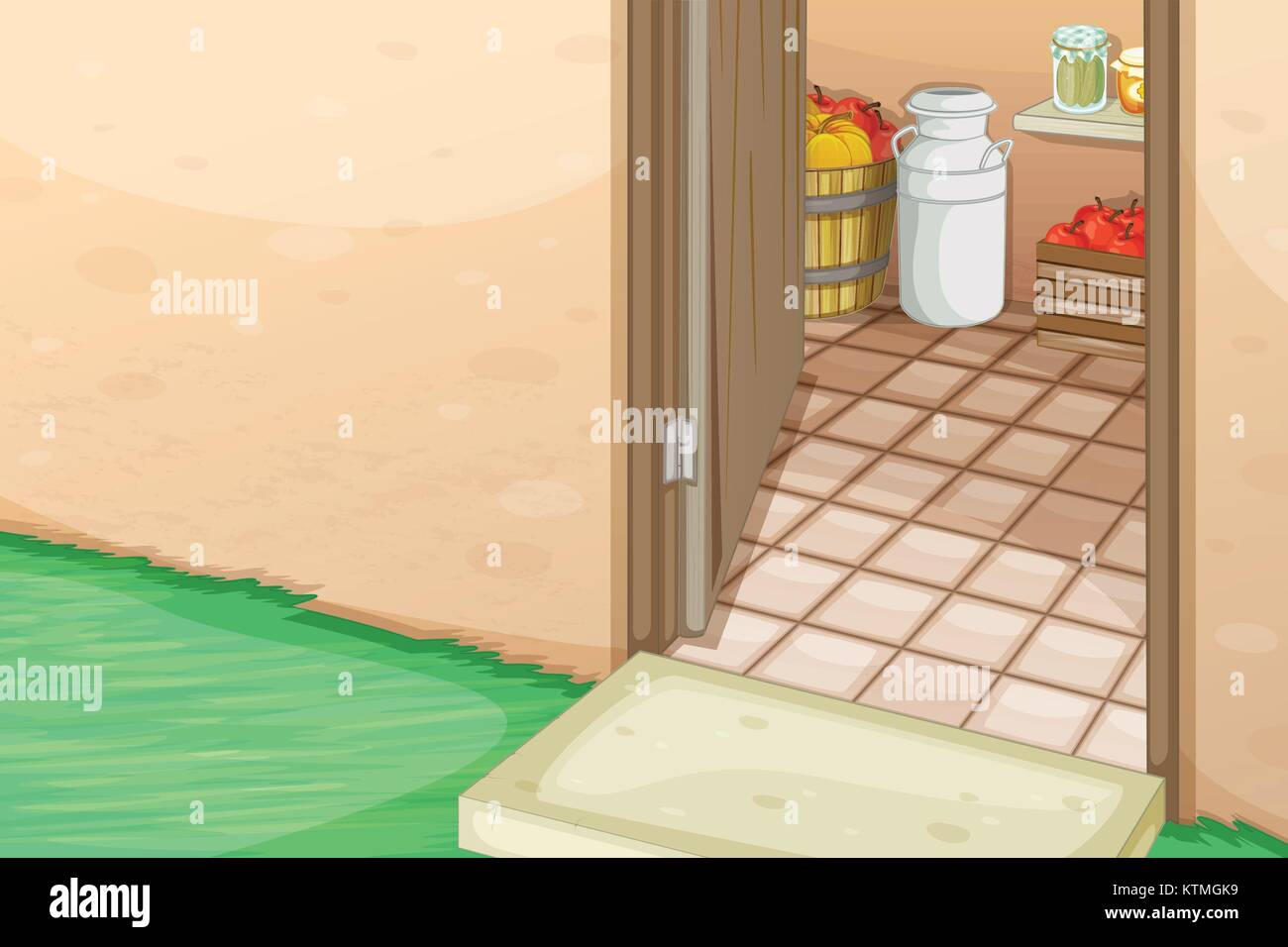 Illustration Cartoon Front Door Inside Stock Photos Illustration