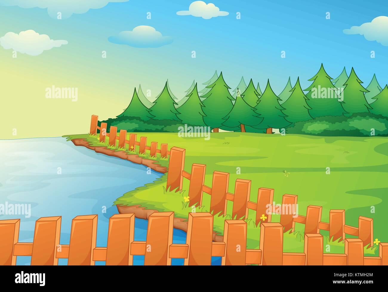 Illustration of a rural scene - Stock Vector