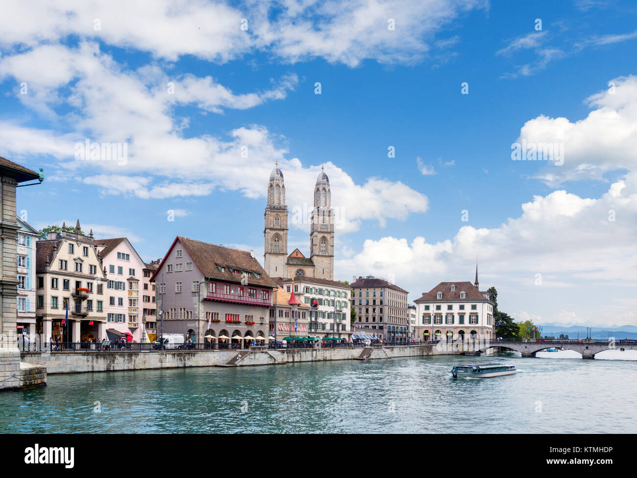 River Limmat looking towards the GrossmUnster, Zurich, Lake Zurich, Switzerland - Stock Image