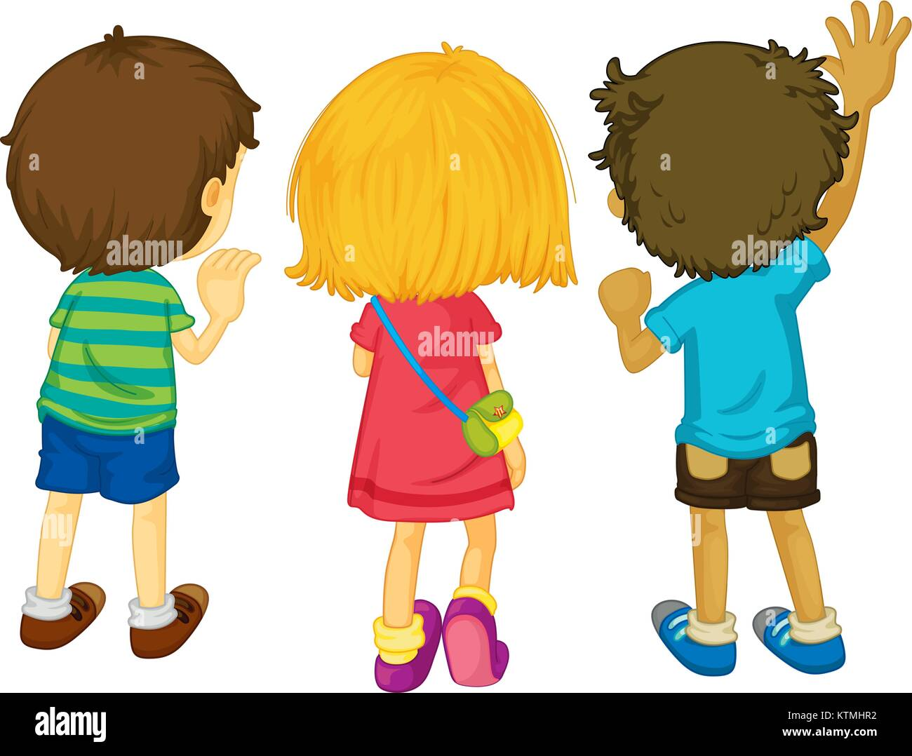 Illustration of 3 kids with backs facing - Stock Vector