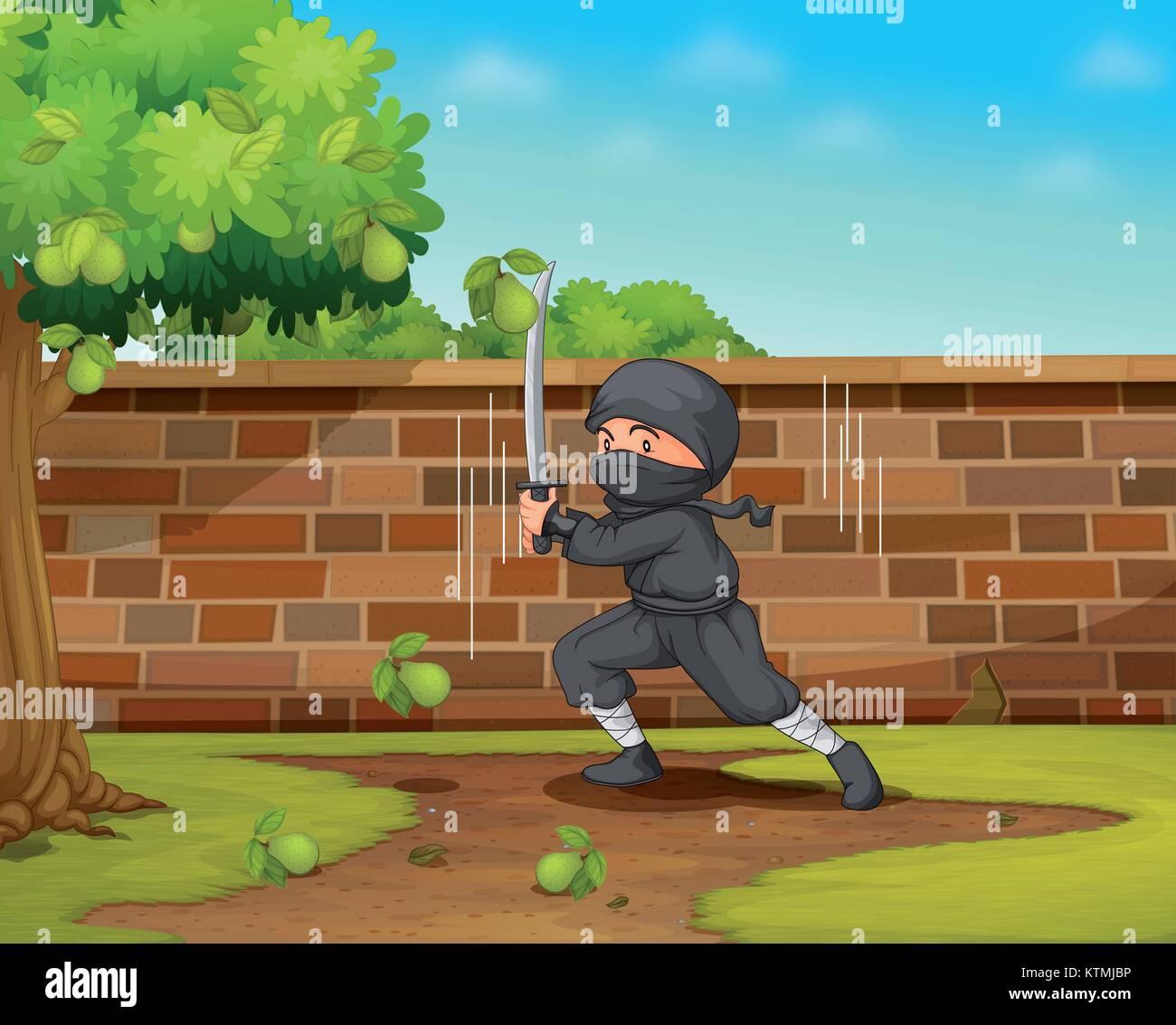 Illustration of a ninja in a garden - Stock Vector