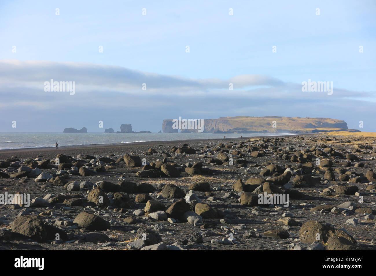 Black sand beach in Iceland - Stock Image